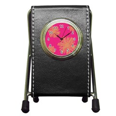 Yellow Flowers On Pink Background Pink Pen Holder Desk Clocks by Jojostore
