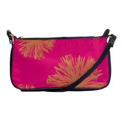 Yellow Flowers On Pink Background Pink Shoulder Clutch Bags by Jojostore
