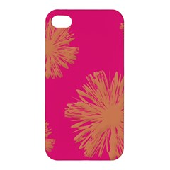 Yellow Flowers On Pink Background Pink Apple Iphone 4/4s Hardshell Case by Jojostore