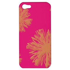 Yellow Flowers On Pink Background Pink Apple Iphone 5 Hardshell Case by Jojostore