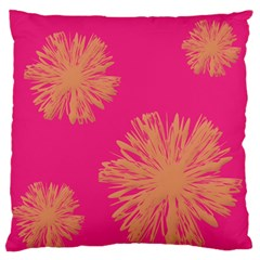 Yellow Flowers On Pink Background Pink Large Flano Cushion Case (one Side)
