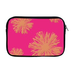 Yellow Flowers On Pink Background Pink Apple Macbook Pro 17  Zipper Case
