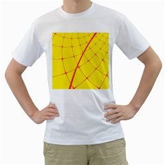 Yellow Redmesh Men s T-shirt (white) (two Sided) by Jojostore