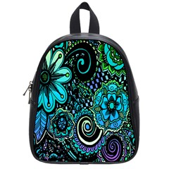 Sunset Floral Flower Green School Bags (small)  by Jojostore