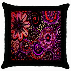 Sunset Floral  Flower Purple Throw Pillow Case (black) by Jojostore