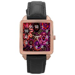Sunset Floral  Flower Purple Rose Gold Leather Watch