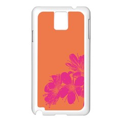 Flower Orange Pink Samsung Galaxy Note 3 N9005 Case (white) by Jojostore