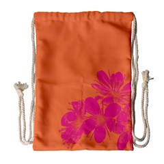 Flower Orange Pink Drawstring Bag (large) by Jojostore