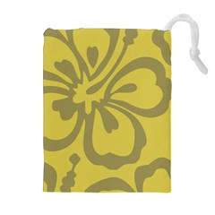 Flower Gray Yellow Drawstring Pouches (extra Large) by Jojostore