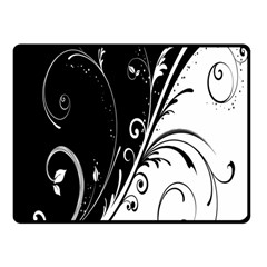 Flower Black White Fleece Blanket (small) by Jojostore