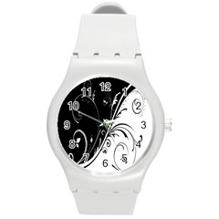 Flower Black White Round Plastic Sport Watch (m)