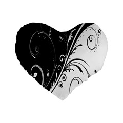 Flower Black White Standard 16  Premium Flano Heart Shape Cushions