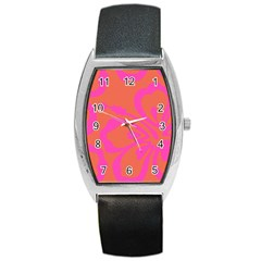 Flower Pink Orange Barrel Style Metal Watch