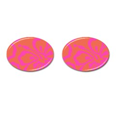 Flower Pink Orange Cufflinks (oval) by Jojostore