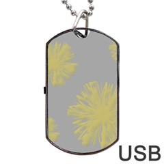Flower Yellow Gray Dog Tag Usb Flash (one Side) by Jojostore