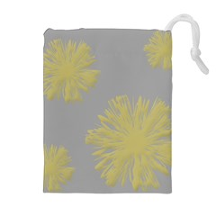 Flower Yellow Gray Drawstring Pouches (extra Large) by Jojostore