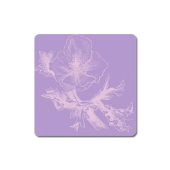 Flower Purple Gray Square Magnet
