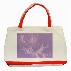 Flower Purple Gray Classic Tote Bag (red)