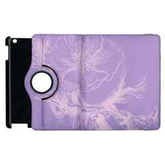 Flower Purple Gray Apple Ipad 3/4 Flip 360 Case by Jojostore