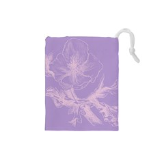 Flower Purple Gray Drawstring Pouches (small)