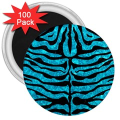 Skin2 Black Marble & Turquoise Marble (r) 3  Magnet (100 Pack) by trendistuff