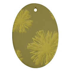 Flower Yelow Oval Ornament (two Sides)