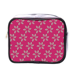 Flowers Green Light On Fushia Mini Toiletries Bags