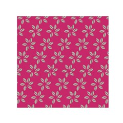 Flowers Green Light On Fushia Small Satin Scarf (square)