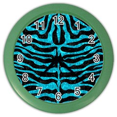Skin2 Black Marble & Turquoise Marble Color Wall Clock by trendistuff