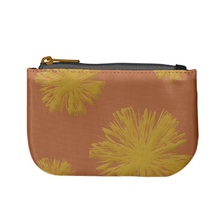 Flower Yellow Brown Mini Coin Purses