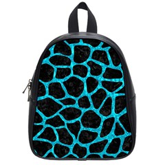 Skin1 Black Marble & Turquoise Marble (r) School Bag (small) by trendistuff