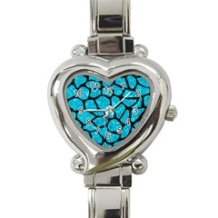Skin1 Black Marble & Turquoise Marble Heart Italian Charm Watch