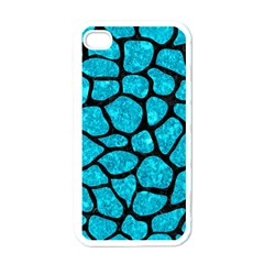 Skin1 Black Marble & Turquoise Marble Apple Iphone 4 Case (white) by trendistuff