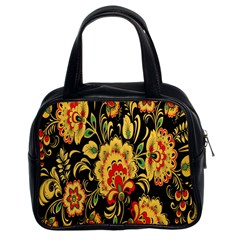 Flower Yellow Green Red Classic Handbags (2 Sides)