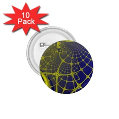 Futuristic Looking Fractal Graphic A Mesh Of Yellow And Blue Rounded Bars 1 75  Buttons (10 Pack)