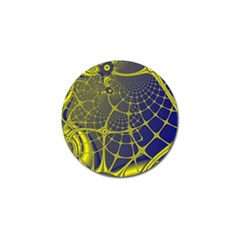 Futuristic Looking Fractal Graphic A Mesh Of Yellow And Blue Rounded Bars Golf Ball Marker by Jojostore