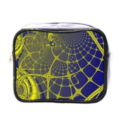 Futuristic Looking Fractal Graphic A Mesh Of Yellow And Blue Rounded Bars Mini Toiletries Bags