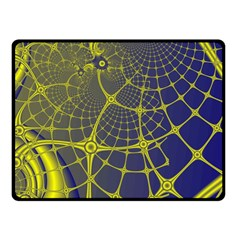 Futuristic Looking Fractal Graphic A Mesh Of Yellow And Blue Rounded Bars Fleece Blanket (small)