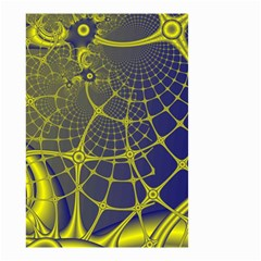 Futuristic Looking Fractal Graphic A Mesh Of Yellow And Blue Rounded Bars Small Garden Flag (two Sides) by Jojostore