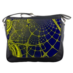 Futuristic Looking Fractal Graphic A Mesh Of Yellow And Blue Rounded Bars Messenger Bags by Jojostore