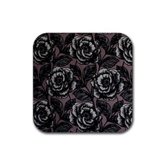 Gray Flower Rose Rubber Square Coaster (4 Pack)  by Jojostore