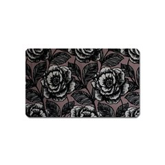 Gray Flower Rose Magnet (name Card)