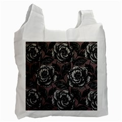 Gray Flower Rose Recycle Bag (one Side) by Jojostore