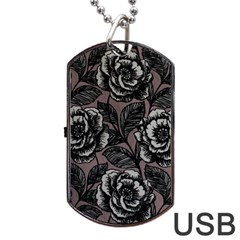 Gray Flower Rose Dog Tag Usb Flash (two Sides)  by Jojostore