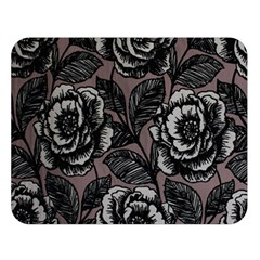 Gray Flower Rose Double Sided Flano Blanket (large)