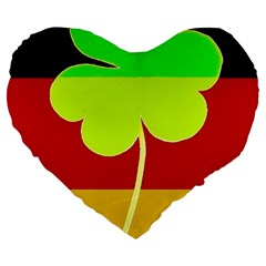 Irish German Germany Ireland Funny St Patrick Flag Large 19  Premium Flano Heart Shape Cushions