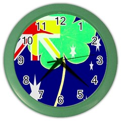 Irish Australian Australia Ireland Shamrock Funny St Patrick Flag Color Wall Clocks