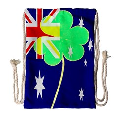 Irish Australian Australia Ireland Shamrock Funny St Patrick Flag Drawstring Bag (large) by yoursparklingshop