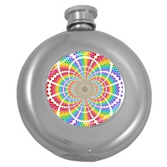 Color Background Structure Lines Round Hip Flask (5 Oz) by Amaryn4rt