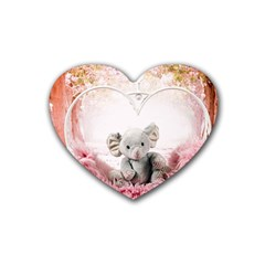 Elephant Heart Plush Vertical Toy Rubber Coaster (heart)  by Amaryn4rt
